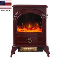 EUA estoque vermelho valorxhome 750 / 1500w 22 polegadas fogão elétrico, aquecedor elétrico portátil da lareira com chama realista D14703432