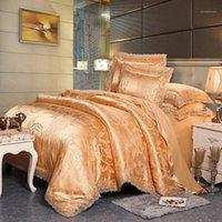 مجموعات الفراش ضوء تان الدانتيل ساتان الجاكار سرير مجموعة النمط الأوروبي مشروط الكتان ورقة مدورة مزدوجة pillowcases1