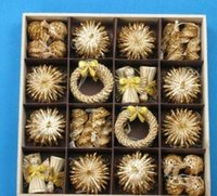 나무 장식품 세트 밀 짚 짠 축제 장식 크리스마스 장식 판매 온라인 크리스마스 장식 ZGOX # bbybhnh