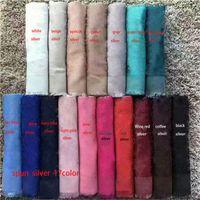 Soie de laine de laine de haute qualité classique avec filet d'argent Foulard foulard Foulards épais châle 140 * 140cm sans boîte