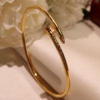 S925 Sterling Silber Schraube Nägel Klassisch Zirkon Armband Gold Armbänder Punk Für Frauen Beste Geschenk Luxuriöse Überlegene Qualitätsschmucksachen