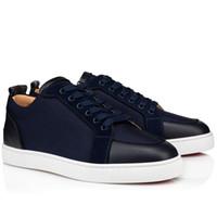 Luxurys-designers sapatos solas vermelhas homens rantulow orlato homens liso tecidos low top sapatilhas marinho azul-azul, sapatos masculinos sapatilhas vermelhas inferiores