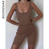 Boofenaa Casual Ribbed Knit In Backless Minkers Shorts One Piece Bodycon Jumpsuit Mujeres Summer Sweat Suits C66-AZ90 Y200822