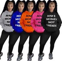 Ganhar dinheiro não amigos Carta Camisola Plus Size Brasão Mulheres Sueter Hoodie Jacket inverno quente Tops Casacos Roupa S-4XL D102103