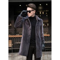 Natural wool coats outerwear men turn down collar single bre...