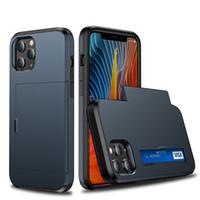 デュアルレイヤークレジットカードホルダーソフトTPUハードPC iPhone 13 12ミニ11 PRO XS MAX XR 7 8 Plus Samsung S21 S20ノート20ウルトラS20FE S21FE