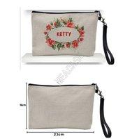 Cosmetic Bag fai da te ispessito Lino pochette cerniera bagagli a trasferimento termico a sublimazione vuoto pianura Designers Borse Donne borsa D92408