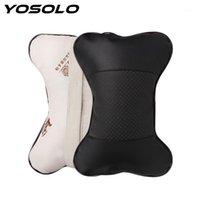 Yosolo 1 stück knochenform auto neckkissen perforiert design pu leder auto sitz abdeckung kopfhaustruhe kissen headrest kissen1
