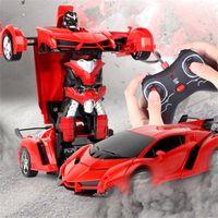 Fernbedienung One-Taste Automatische Verformungsroboter-Verformung RC-Autos Spielzeug-Plastikmodell Jungengeschenk 360 One-Taste Rotation Auto 201223