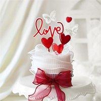 Heart Butterfly Te amo Topper Topper para Día de San Valentín Decoraciones de fiesta Acrílico Aniversario Suministros para hornear regalos de amor1