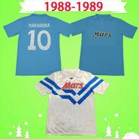 1988 1989 Napoli Maradona Careca Retro Nápoles de Futebol Jerseys 88 89 Camisas Futebol Clássico Home Away Azul Branco Vintage Napoles Maglia