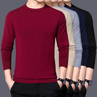 Mens Slim Sweater Solid Color Long Sleeve Pullover Sweaters ...