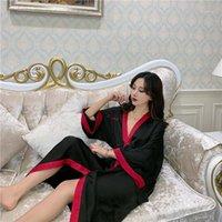 Women's Sortwear Printemps Femmes 2021 Mode Brodée Nightpown Robe V-Cou Cravate Couleur Correspondant Peignoir À Home Service Girlfriends L601