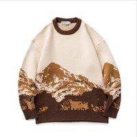 Otoño Invierno Hombres O Cuello Suéter Moda Manga Larga Nieve Montaña Patrón Patrón Pullover Hombre Casaul Holido Hecho W1104