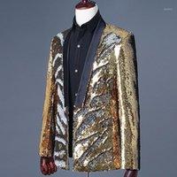 Erkekler Takım Elbise Blazers Erkek Altın Sequins Suit Kulübü DJ Glitter Sihirli Sahne Gösterisi Slim Fit Blazer Ceket Adam Rahat Dış Giyim Hombre Cardigan Co