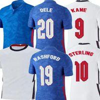 20 21 Sterling Kane Rashford Dele Dele Casa Branco Azul Mens Kit Kit de Futebol Jersey Lingard Sturridge Adulto Camisa Juventude Uniforme 2020 2021