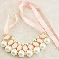 Fête élégante ruban breloques cadeau de mariage quotidien artificiel perle de mode bijoux femmes collier
