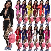 12 couleurs Léopard Patchwork Womens Outfit 2021 Cropped Zip Zip Jacket Zipper Capuche à capuchon Crop Top et pantalon Leggings Tracksuit Party Weee122401