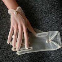 perle élégante transparent sexy pour femmes perles gant de maille blanc cru écran solaire femme court gant conduite dentelle R2991