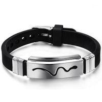 Pulseira de silicone sílica gel meninos pulseira punhos pulseira para homens 316L aço inoxidável pulgles serpente padrão1