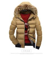 Fashion TOM Men's Fur Collar Coat Winter Zipper Thick Patchwork Windbreaker Outwear Warm Cotton Jacket Men's Coat Outdoor Long Jac