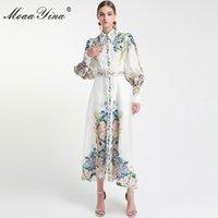 MoaaYina Moda Tasarımcısı Pist elbise İlkbahar Sonbahar Kadınlar Elbise Fener Kol Çiçek-Baskı Tatil Elbiseler 1110