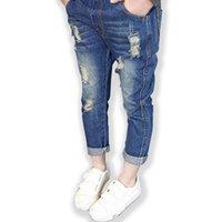 Yeni Çocuk Kızlar Için Kırık Delik Kot Rahat Moda Kırık Delik Çocuklar Kızlar için Pantolon Gevşek Yırtık Kot Çocuk Giyim LJ201203