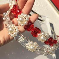 Diseñador de perlas diadema retro diadema de mujer ancho alabado perla diadema cadena horquilla mujeres accesorios para el cabello
