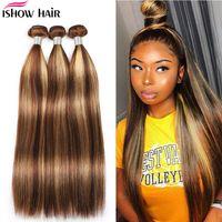 ishow weaves wefts 스트레이트 하이라이트 4/27 ombre 색상 인간의 머리카락 번들 8-28inch 브라질 바디 페루 Virgn 헤어 익스텐션 여성을위한 모든 연령대