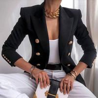 Nibesser Blazer 여성 사무실 재킷 더블 브레스트 하라주쿠 블레이저 슬림 피팅 여성 2021 코트 사무실 숙녀 복장