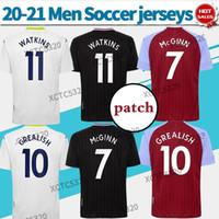 2021 Aston Futebol Jerseys Home # 10 Grealish # 11 Watkins 20/21 Soccer Shirts Ausente Terceiro # 7 Mc Ginn personalizado uniformes de futebol