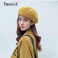 Berets YmsAid Outono Inverno Cor Sólida Mulheres Moda Beret Quente Malha de Malha Femal Flat Caps França Ladies Artist Cap