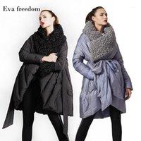 EVA Freedom Оригинальный дизайн 2018 зимние свободные куртки бренды имитируют пляж шерсть с капюшоном плащними пиджак женщины с капюшоном 189681