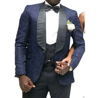 New Stylish Design One Button Navy Blue Groom Tuxedos Shawl Lapel Groomsmen Best Man Suits Mens Wedding Suits (Jacket+Pants+Vest+Tie) 590