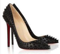 2020 красный нижний мода высокие каблуки для женщин вечеринка свадьба свадьба тройной черный обнаженный желтый розовый блеск шипы заостренные пальцы насос платье обувь