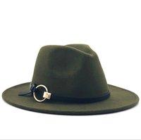 Lana cappello di Fedora Hawkins feltro Cap Tesa larga signore Trilby Chapeu Feminino cappello delle donne degli uomini Jazz Chiesa Padrino Sombrero Caps 201028