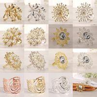 Multi Styles Strass Tovagliolo Della Fibbia Decorazioni Tavolo Anelli Serveiette Holder Circolo Circolo Matrimonio Gem Gem Anello in pietra 36 G2
