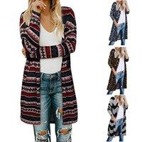 Le donne cappotto maglione lavorato a maglia cime modello Leopard manica lunga Cardigan lungo anteriore aperto casuale Maglione Cappotti mantenere caldo morbido