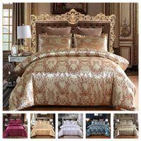 Luxury 2 или 3PCS Постельное белье Установите сатин Жаккардовые одеяльные наборы наборах с застежкой на молнии 1 Крышка одеяла + 1/2 наволочки США / ЕС / AU Размер 201102