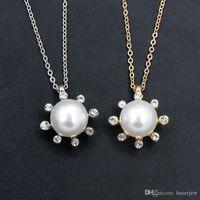 Sun Flower Perle Collier Bijoux En Gros Pendentif Imitation Colliers Diamant Little Sun Pearl Pendentif Collier