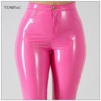 Artı Büyük Boy PU Faux Deri Tayt Büyük Parlak Sıska Pantolon Kadınlar Yüksek Bel Sıvı PVC Lateks Patent Kalem Pantolon Y200114