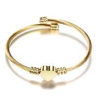 Bracelet en acier en gros en titane bracelet en or rose bracelet bracelets femmes hommes féminin bracelet bracelet couple bijoux avec sac rouge