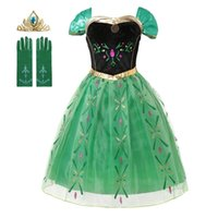 Girl Princess Cosplay Anna Dress Bambini Halloween Party Costume Abiti manica corta Floral Mesh Abiti Bambino Vestiti Bambini LJ200923