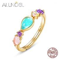 AllNoel Sólido 925 Sterling Silver Ring para Mulheres Natural Amazonite Sintético Ametista / Opala / Rosa Quartzo / Mutil Gems Anel Gift1