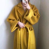 [EWQ] 2020 Sonbahar WNEW Kalın Sarı Kış Coat Kadınlar Plus Size Uzun Kadın Kabanlar Kore Yüksek Kalite Yün Coat QL2817 Isınma