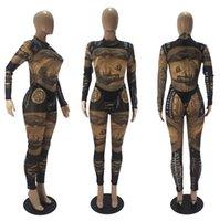 Designer Designer Designer Slim Dollar Stampato Moda Maniche lunghe Maniche lunghe Home Wear Tuta Pantaloni Collant Due pezzi Set Set Signore Pagliaccetti CZ103001