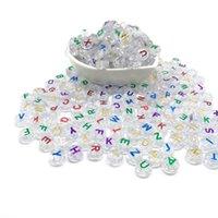 Alphabet Acryl Perlen Buchstaben flache Perlen 6 * 10mm lose Perlen für die Herstellung von DIY handgemachtes Armband Halskette Geschenk