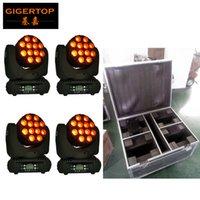 Montaj Kanca ABD / AB Güç fişi ile Baş Işın Işık Olgun Model LCD Ekran Hareketli 12x12W RGBW 4IN1 Led Ambalaj tekerlekli 4in1 flightcase