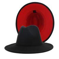 Remiendo de las mujeres para hombre Rojo Negro fieltro de lana Floppy Jazz partido de la moda del sombrero de ala del sombrero de vaquero formal del borde ancho del casquillo del sombrero flexible Panamá