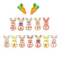 Bandiera di bandiera di Pasqua a forma di coniglio appeso Bandiere di tema di Pasqua felice per il compleanno festa di Pasqua il banner ghirlanda T3i51616